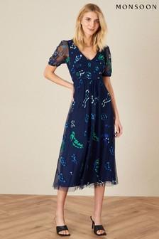 Monsoon Blue Ana Animal Embroidered Midi Dress