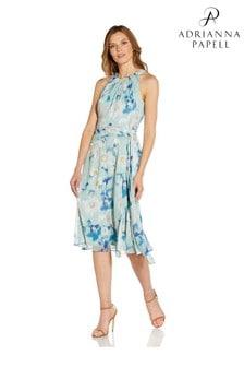 Adrianna Papell Green Floral Chiffon Tie Dress
