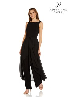 Adrianna Papell Black Chiffon And Jersey Jumpsuit