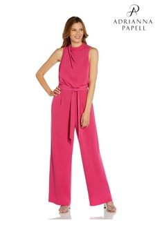 Adrianna Papell Pink Draped Twill Jumpsuit