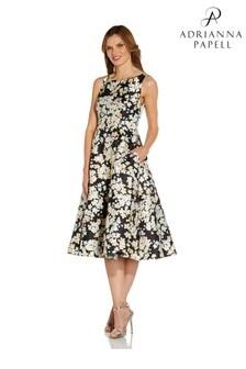 Adrianna Papell Black Floral Mikado Dress
