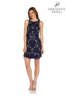 Adrianna Papell Blue Beaded Blouson Short Dress