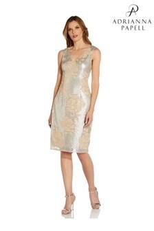 Adrianna Papell Silver Sleeveless V-Neck Dress