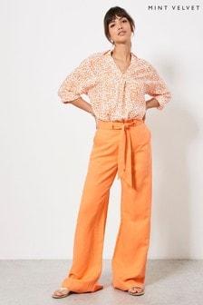 Mint Velvet Orange Belt Wide Leg Trousers