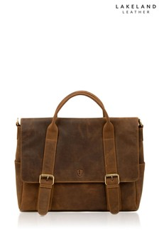 Lakeland Leather Hunter Tan Leather Briefcase