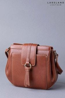 Lakeland Leather Birthwaite Cognac Leather Saddle Bag