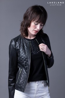 Lakeland Leather Cheri Quilted Collarless Black Leather Jacket