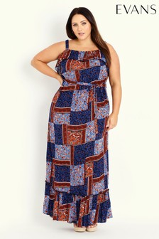 Evans Red Frill Patchwork Maxi Dress