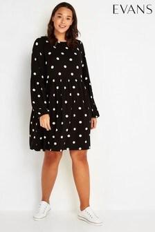 Evans Black Spot Puff Sleeve Dress