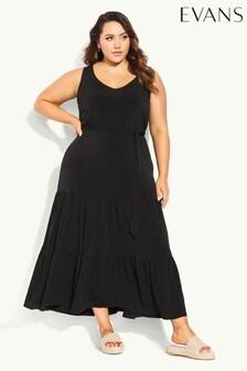 Evans Black Tiered Sleeveless Maxi Dress