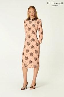 L.K.Bennett Pink Yoko Toile Shadow Print Dress