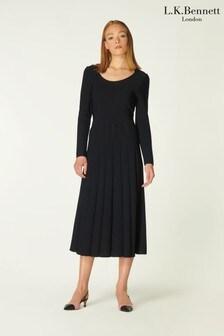 L.K.Bennett Black April Scoop Neck Viscose Rayon Stitch Detail Dress