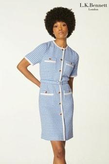L.K.Bennett Blue Valentina Tweed Dress With Tape Trim