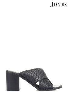 Jones Bootmaker Black Danika Ladies Block Heeled Mules Sandals
