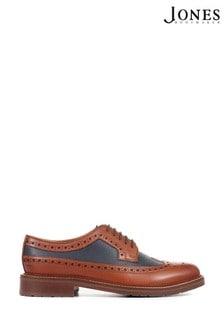 Jones Bootmaker Mens Tan Barney Leather Derby Brogues Shoes