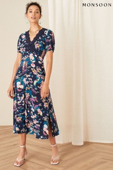 Monsoon Oriental Print Lace Trim Dress