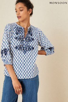 Monsoon Organic Cotton Ikat Embroidered Top