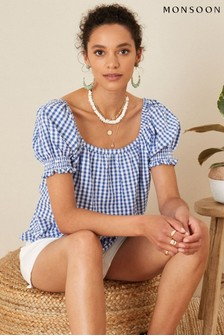 Monsoon Gingham Cotton Top