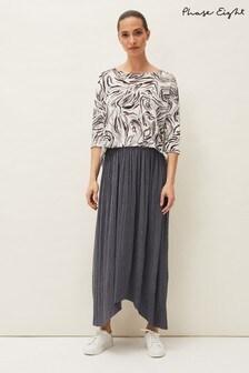 Phase Eight Grey Roselle Plisse Maxi Skirt