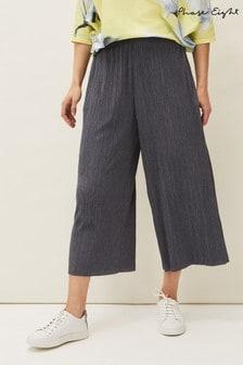 Phase Eight Grey Bradie Plisse Wide Leg Trousers