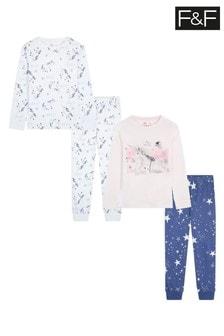 F&F Green 23 Gg Unicorn Pyjamas 2 Pack