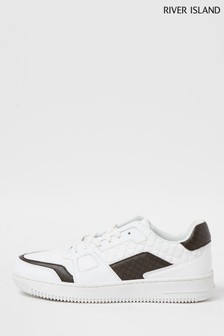 River Island White 7586 Low Monogram Luxe Sneakers