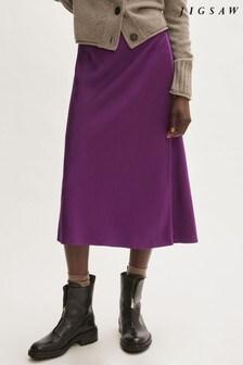 Jigsaw Purple Bias Maxi Slip Skirt