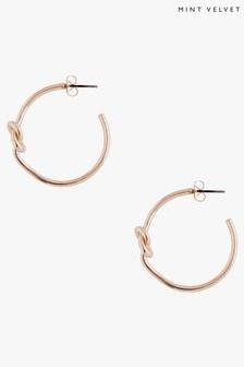 Mint Velvet Gold Tone Knot Hoop Earrings