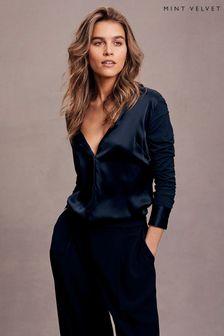 Mint Velvet Blue Silk Front Shirt
