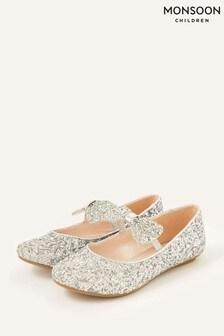 Monsoon Silver Glitter Dazzle Bow Ballerina Flat Pumps