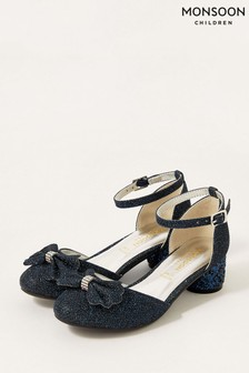Monsoon Blue Glitter Bow Heel Shoes