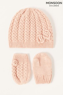 Monsoon Pink Baby Daisy Hat and Mittens Set