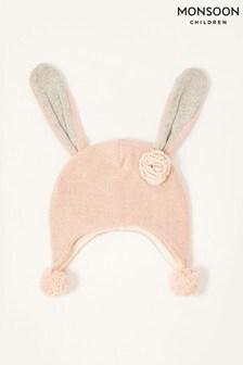 Monsoon Pink Baby Ellie Floppy Bunny Hat