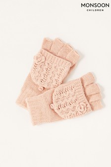 Monsoon Pink Daisy Sparkle Capped Gloves