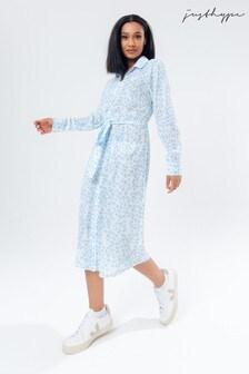 Hype. Women's Blue Daisy Shirt Dress