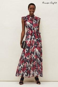 Phase Eight Blue Ellen Palm Print Maxi Dress