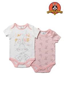 Looney Tunes Bugs Bunny Pink Short Sleeved Bodysuit 2 Pack Set