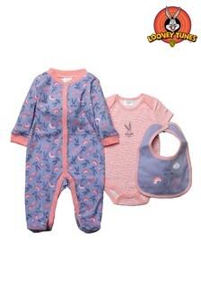 Looney Tunes Bugs Bunny Pink 3 Piece Babygrow Set
