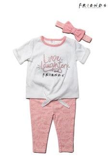 Friends Pink 3 Piece Top, Legging & Headband Set