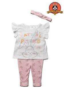 Looney Tunes Bugs Bunny Pink 3 Piece Top, Legging & Headband Set