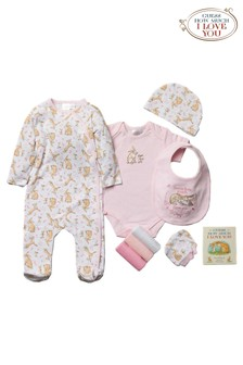 Guess How Much I Love You Pink 10 Piece Babygrow, Book Set