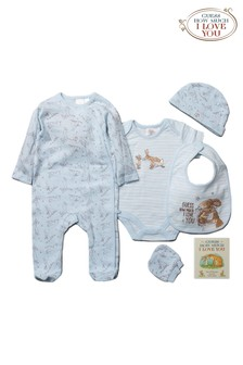 Guess How Much I Love You Blue 6 Piece Babygrow And Book Set