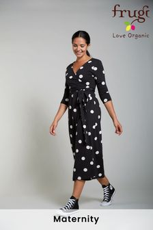 Frugi Organic Black Polka Maternity & Nursing Wrap Dress