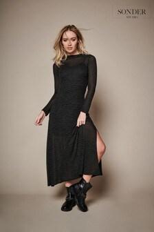 Sonder Studio Green Zebra Print Midi Dress