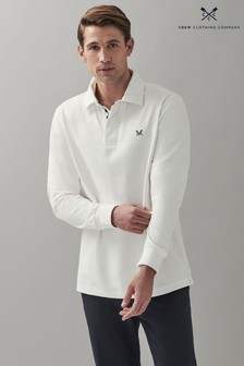 Crew Clothing Company White Crew Long Sleeve Rugby Shirt