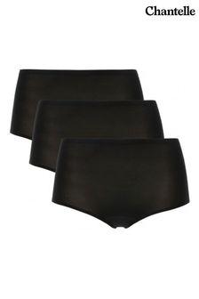 Chantelle Black Three-Pack Soft Stretch High Waisted Briefs
