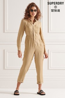 Superdry Nude Cupro Long Sleeved Shirt Jumpsuit