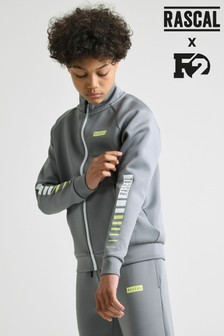 Rascal Boys Grey Elite Stripe Zip Thru Track Top