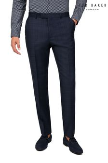 Ted Baker Navy Tonal Check Reg Suit Trousers