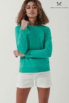 Crew Clothing Company Green Pigment Dyed Sweatshirt